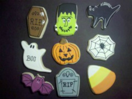 assorted Halloween designs for cookies from Sweet Themes Bakery, Kent WA near Seattle