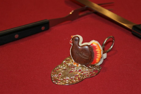 Mini turkey shaped cookie on a tart server from Sweet Themes Bakery in Kent, WA near Seattle