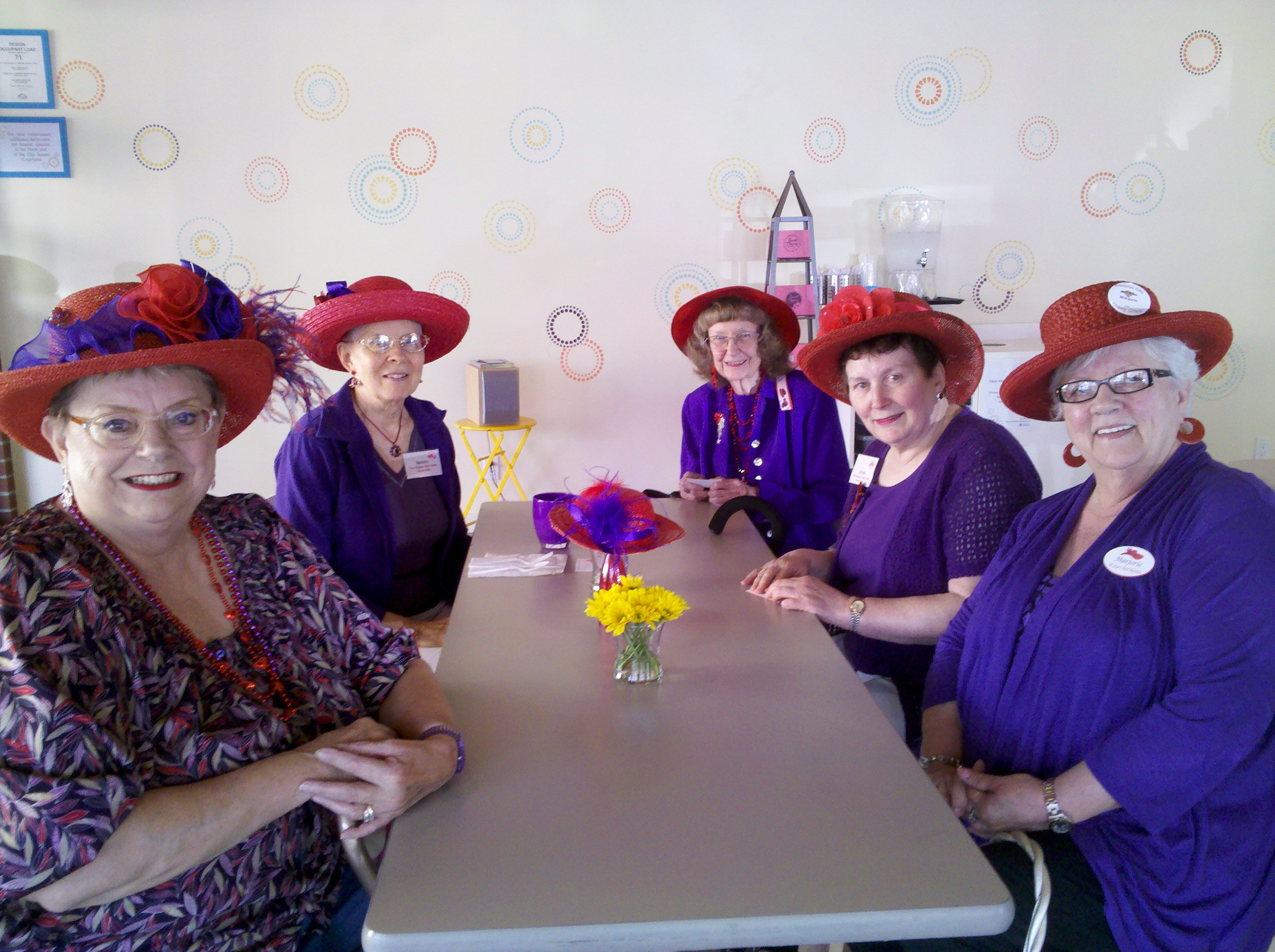 The Sassy Red Hats of Kent joined us for lunch at Sweet Themes Bakery today!