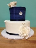 2-Tier Wedding Cake (Blue & White)
