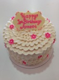 White Ruffle Cake Custom cake design Sweet Themes Bakery Kent Washington