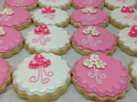 We love custom designing cookies for bridal shower cakes and cookies.