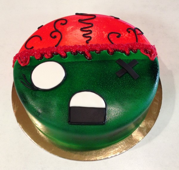 "We can ""theme"" any cake like this zombie cake!"