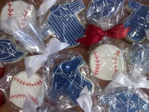 Baseball Assortment cookie designs from Sweet Themes Bakery near Seattle in Kent, WA