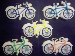 Bike Cookie design from Sweet Themes Bakery near Seattle in Kent, WA