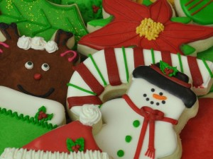 Christmas Group cookies by Sweet Themes Bakery near Seattle in Kent, WA