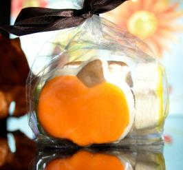 pumpkin shaped decorated sugar cookie