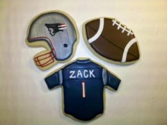 New England Patriots cookie photo from Sweet Themes Bakery in Kent, WA near Seattle