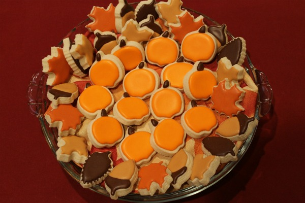 pumpkin shaped cookies in a pie dish from Sweet Themes Bakery in Kent, WA near Seattle