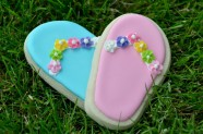 Blue & Pink Flip Flop Cookies with Floral accents