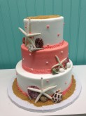 3-Tier Beach Wedding Shower Cake Custom cake design Sweet Themes Bakery Kent Washington