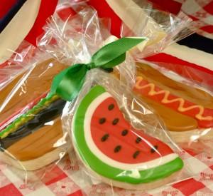 Watermelon Hamburger Hotdog Custom Cookie Design at Sweet Themes Bakery Kent Washington