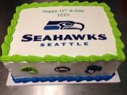 Seahawks Football Custom Cake Design at Sweet Themes Bakery Kent Washington